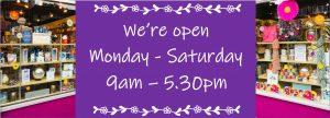 Back open 9am - 5.30pm