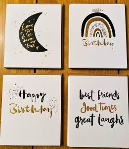 Black and Gold bold birthday cards